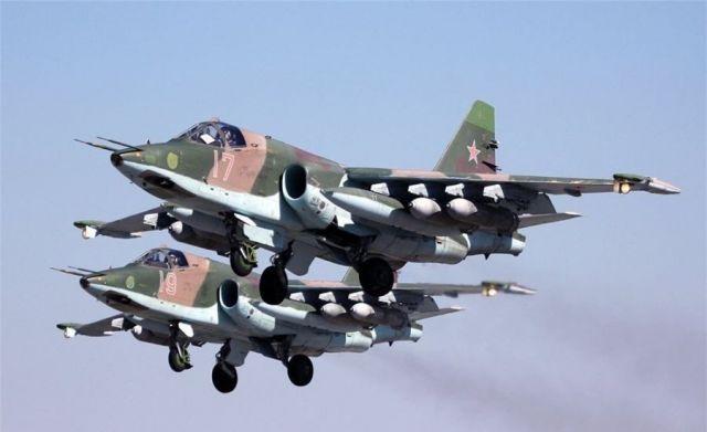 На Ставрополье штурмовики Су-25 провели учебную атаку