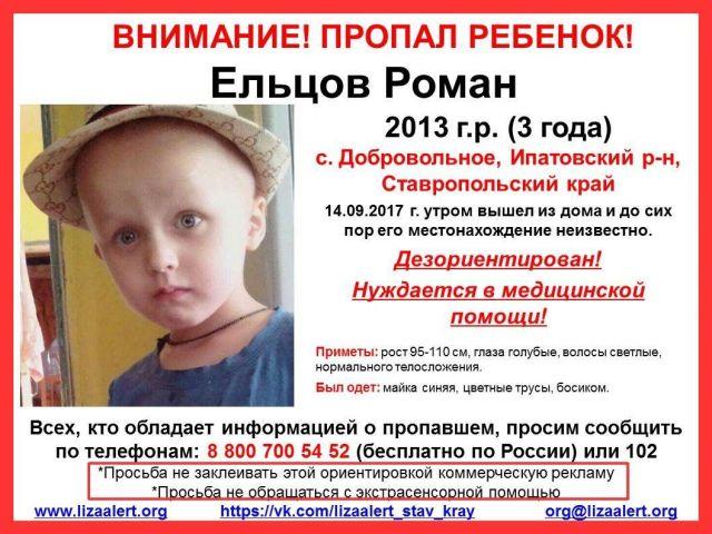Для поисков пропавшего на Ставрополье маленького мальчика требуются добровольцы