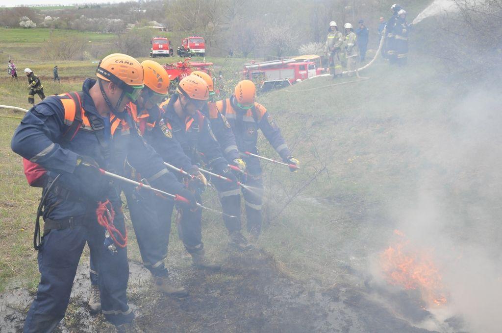 В Грачёвском районе потушили условный лесной пожар