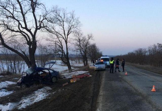 На Ставрополье легковушка врезалась в дерево, погибли двое