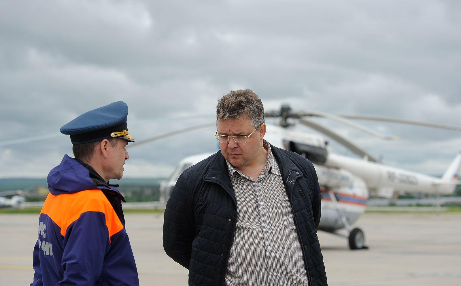 Губернатор и руководство МЧС совершили облёт пострадавших от паводка территорий Ставрополья