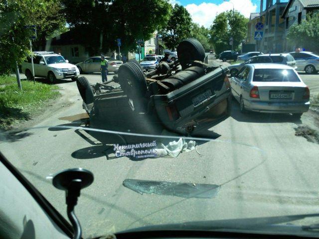 ДТП с опрокидыванием автомобиля произошло в Ставрополе