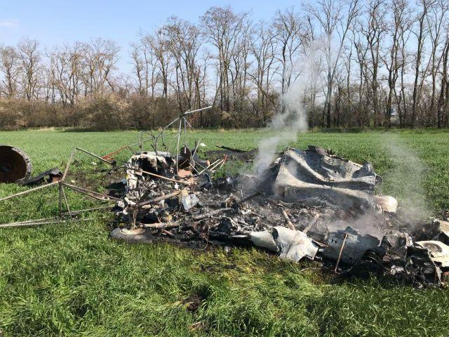 Появились фото с места падения вертолёта МИ-2 на Ставрополье