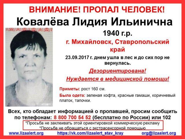 На Ставрополье пропала 77-летняя женщина