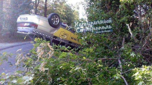 В Ставрополе такси врезалось в дерево и перевернулось