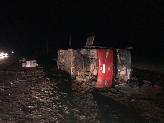 В Ставропольском крае перевернулся рейсовый автобус
